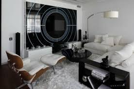 Wohnzimmer Farben Schwarz Weiß Teppich Sbildschirm Wand
