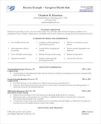 Extended Resume Template In Home Caregiver Resume In Pdf Resume Examples Resume