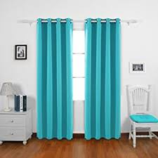 Deconovo Turquoise Curtains For Bedroom Grommet Solid Thermal Insulated  Room Darkening Curtains 2 Panel Set 52W