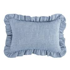 bedding n more chambray blue ruffled pillow by hiend accents