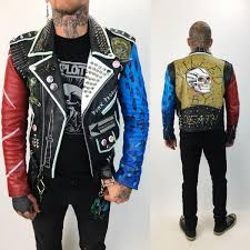 vintage spiked leather punk jacket mens small 32 red blue black painted custom skull leopard punk rock leather diy patched moto jacket