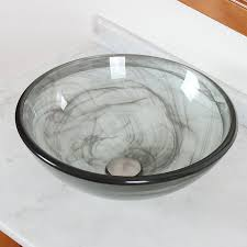 gray vessel sink. Wonderful Gray ELITE Bathroom Glass Vessel Sink With Black Swirls Textures For Vanity   Amazoncom And Gray