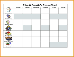 Housekeeping Schedule Chart Household Chores Checklist Excel Luisviol Co