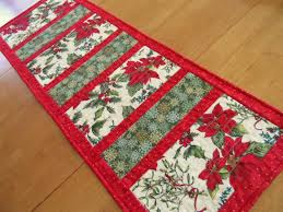 Christmas Table Runner Patterns Gorgeous Christmas Table Runner Modern Holiday Table Runner Poinsettia