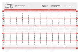 Callendar Planner Yearly Wall Calendar Planner Template For 2019 Year Vector Design