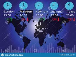 Global Stock Markets And Time Zones Stock Vector