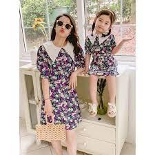 Set áo đôi đầm mẹ và bé thiết kế 2021 👗HOT TREND👗 Áo váy đôi mẹ và bé gái  thắt nơ kèm họa tiết hoa lá xinh xắn