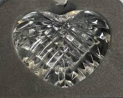 waterford crystal heart paperweight hand cooler vintage wedding heirloom gift
