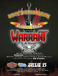 Sherman Theater Summer Stage Seating Chart Rock The Mountain 80s Rock Festival Ft Warrant L A Guns
