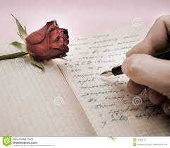Escriba Una Letra De Amor Con Una Rosa Foto de archivo - Imagen de amor, vendimia: 18806570