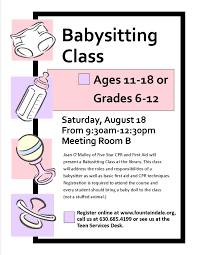 sign up for our babysitting class for teens class is on sign up for our babysitting class for teens class is on 18th