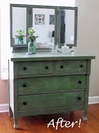 after makeover wood makeup dressing table with 4 drawer painted with green chalk paint color made from solid wood with 3 mirror top ideas