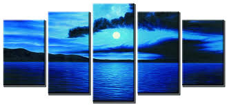 com wieco art dark blue ocean white sun modern 5 piece wrapped giclee canvas prints contemporary seascape artwork beach pictures paintings on canvas