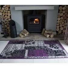 milan grey purple patchwork fireplace rug oon luxury wool hearth rugs uk