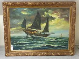 lot 379 chinese junk in heavy sea 20th century oil painting signed h cheng