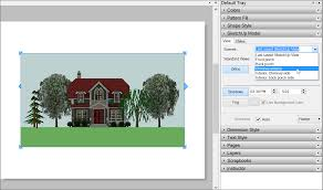 in layouts sketchup model panel select a scene from the drop down list