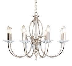 aegean 8 light polished nickel chandelier elstead lighting