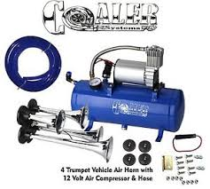 air horn kit air horn 4 trumpet 12 volt compressor 18ft hose 150 db train 120 psi kit truck