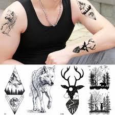 временные тату с оленем черный олень волк олень мужские татуировки наклейки