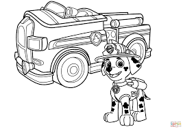 2465x1744 paw patrol marshall with fire truck coloring page free printable