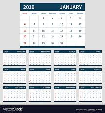 12 Week Calendar Template Calendar Planner 2019 Template Set Of 12 Month