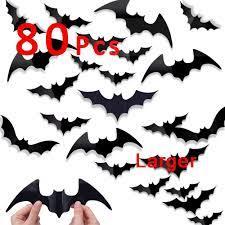 Homemade halloween decorations can be made out of essentially any material, and paper is a great material to start! Amazon Com 80 Pcs Halloween Bats Decoration 3d Pvc Paper Bats Stickers For Wall Decal Removable Larger And Thicker Bat Scary Halloween Decorations Arts Crafts Sewing