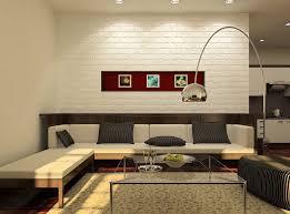 Minimalist Living Room Interior With Brick Wall Stock Illustration White Brick Wall Living Room