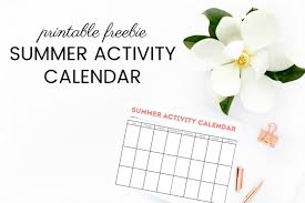 Summer Activity Calendar Printable - Simply Organized