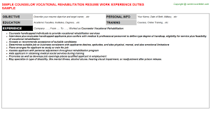 counselor vocational rehabilitation resume vocational counselor resume