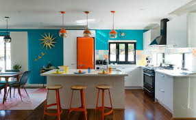 Orange And White Kitchen Kitchen Style Vintage Style Kitchen Mixes Retro Decor With