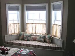 Interior:Charming Living Room Design With Bay Window Design And Stripped  Window Seat Decor Idea