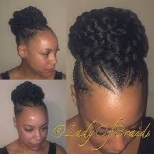 Natural Hairstyles Ponytails Love This Cute Goddess Braids Into A Bun Protective Hairstyle On