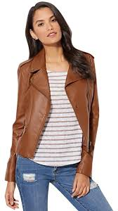 new york company brown faux leather moto jacket