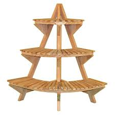 Jewels of Java 39-in Natural Indoor/Outdoor Corner Wood Plant Stand
