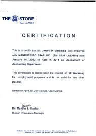 Format Of Employer Certificate Certificate Of Employment Msi Sm Dep Store