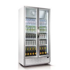 husky upright 2 door commercial glass front bar fridge