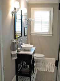 Decorating Guest Bathroom Small Gray Guest Bathroom Ideas With Black Wooden Console Sink
