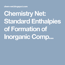 Enthalpy Chart For Compounds Standard Enthalpies Of Formation Of Inorganic Compounds