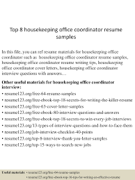 Office Coordinator Resume Sample Top 60 housekeeping office coordinator resume samples 26