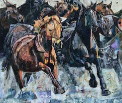 crossing the river abstract horse painting on canvas