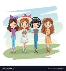 cute s friends cartoon vector image