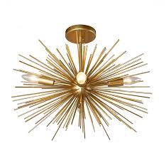Starburst Flush Mount Light 20 Inch Astra Sputnik Semi Flush Mount Lamp Gold Spike Starburst Light Mid Century