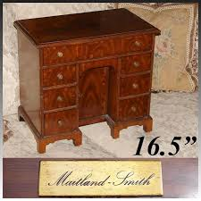 rare vintage maitland smith 16 5 miniature desk shaped jewelry chest gany veneer george