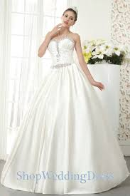 Ivory Crystals Sweetheart Neckline Ball Gown Satin Floor Length