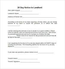 30 Days Notice Letter To Landlord 7 Download Free Documents In Word