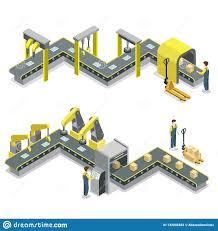 Assembly Line Design Production Line Isometric 3d Concept Set Stock Illustration