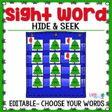 Sight Word Editable Hide Seek Pocket Chart Cards Christmas Theme
