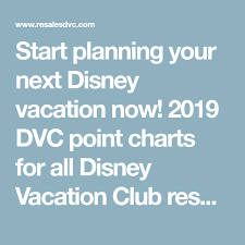 Just Released 2019 Dvc Point Charts Disney Vacation Club