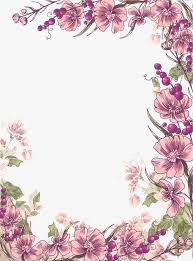 Purple Flowers Backgrounds Ink Purple Flowers Border Background Png Clipart Free