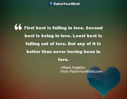 Second Love Quotes Inspiration First Best Is Falling In Love Second Best Is Being In Love Least